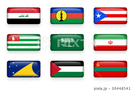 Set of world flags rectangle buttons  30448541