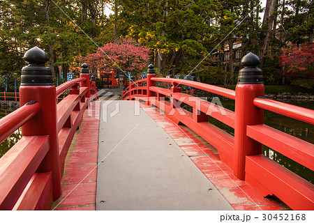 和歌山 紅葉の高野山 不動堂前の池にかかる赤い橋 30452168
