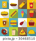 Fast food icons set, flat style 30468510