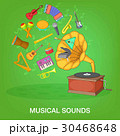 Musical instruments green concept, cartoon style 30468648