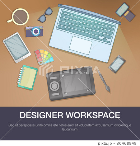 Designer workspace concept, cartoon styleのイラスト素材 [30468949] - PIXTA
