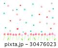 並んだお花とちょうちょの背景 30476023