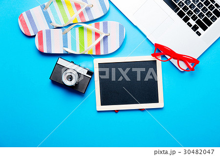 blackboard, sandals, camera, laptop and glassesの写真素材 [30482047] - PIXTA