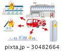 火事 ぼや 消防車のイラスト 30482664