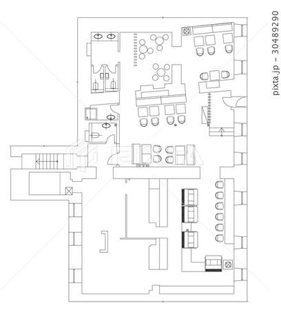 Standard cafe furniture symbols on floor plansのイラスト素材 [30489290] - PIXTA