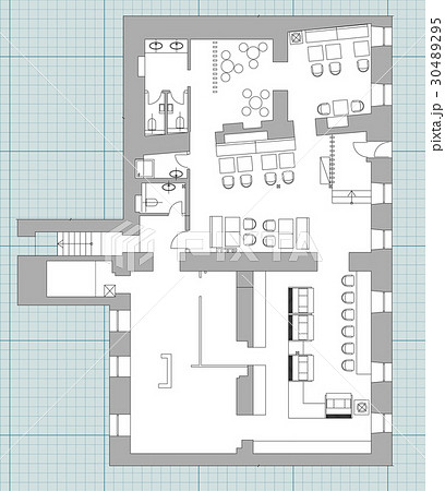 Standard cafe furniture symbols on floor plansのイラスト素材 [30489295] - PIXTA