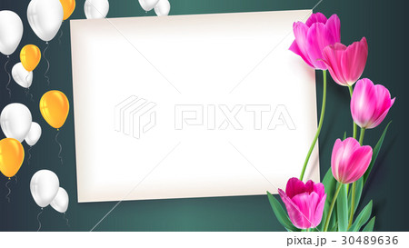 Greeting card with tulips around the sheet of 30489636
