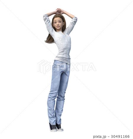 ラフなジーンズファッションの若い女性 perming3DCGイラスト素材 30491166