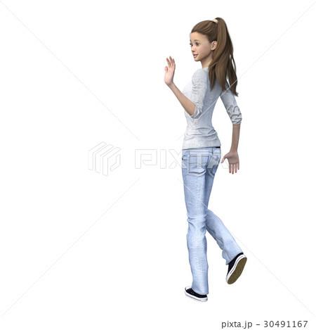 ラフなジーンズファッションの若い女性 perming3DCGイラスト素材 30491167