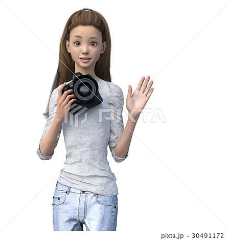 ラフなジーンズファッションの女性カメラマン perming3DCGイラスト素材 30491172