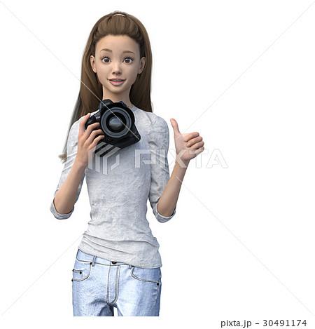 ラフなジーンズファッションの女性カメラマン perming3DCGイラスト素材 30491174