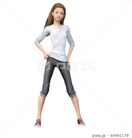 ラフなパンツファッションの若い女性 perming3DCGイラスト素材 30491179