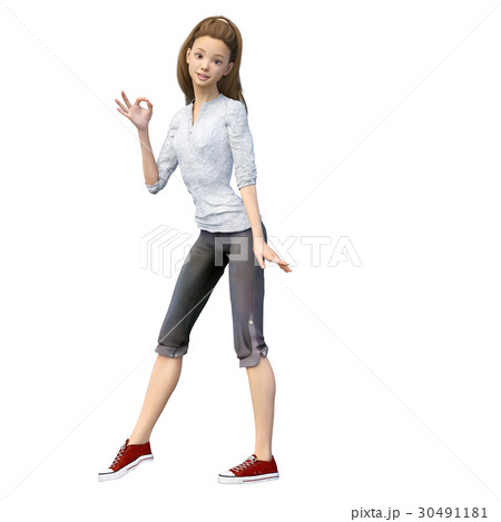 ラフなパンツファッションの若い女性 perming3DCGイラスト素材 30491181