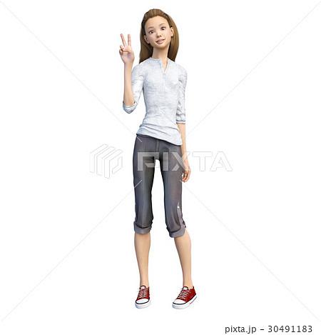 ラフなパンツファッションの若い女性 perming3DCGイラスト素材 30491183