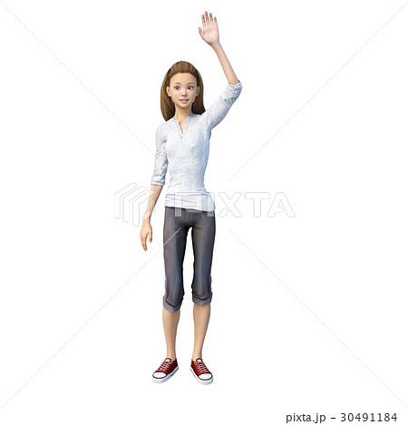 ラフなパンツファッションの若い女性 perming3DCGイラスト素材 30491184