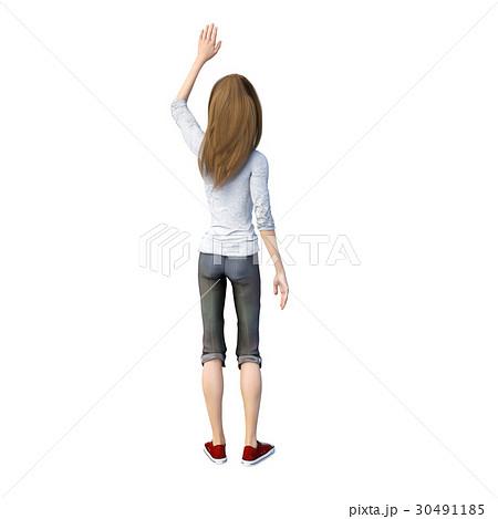 ラフなパンツファッションの若い女性 perming3DCGイラスト素材 30491185