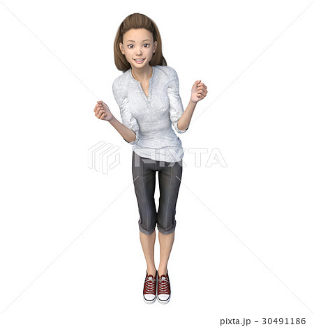 ラフなパンツファッションの若い女性 perming3DCGイラスト素材 30491186