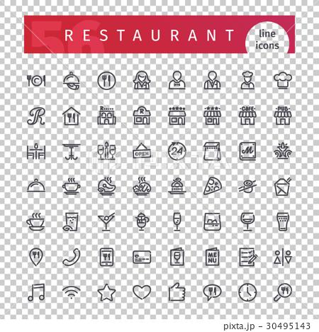 Restaurant Line Icons Set 30495143