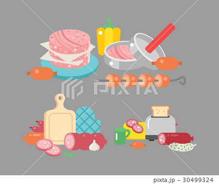 Meat products ingredient and rustic elements 30499324
