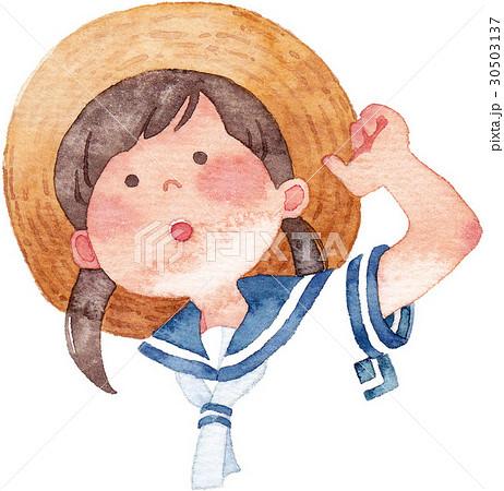 麦わら帽子の女の子のイラスト素材 30503137 Pixta