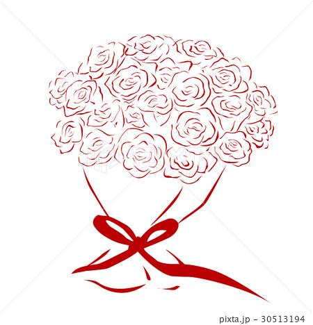 線で描いた真っ赤な花束 バラの花束のイラスト素材 30513194 Pixta