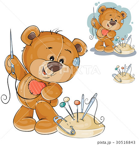 Vector illustration of a teddy bear sewing on 30516843