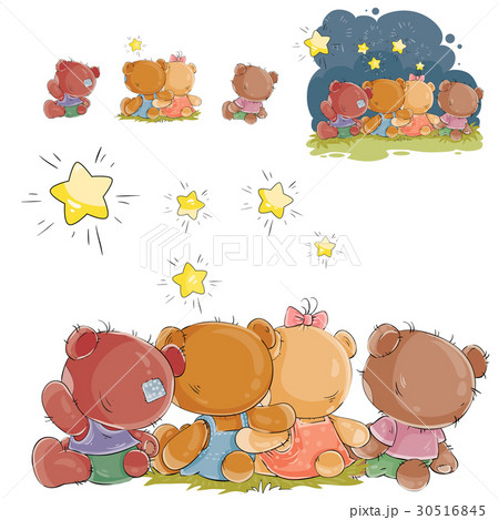 Vector illustration of a group of teddy bears 30516845