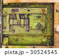 Closeup old lock on metal garage door 30524545