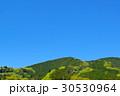 若葉芽吹く新緑の山と晴れ渡る青空 山腹の集落 標準画角 30530964