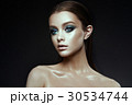 Fashion model Woman with fantasy make up. Long 30534744