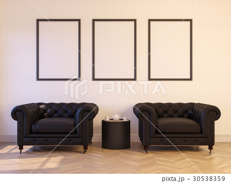 3d render of a interior mock-up with a poster 30538359