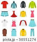 Different clothes set flat icons 30551274