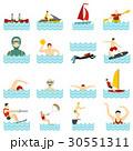 Water sport set flat icons 30551311