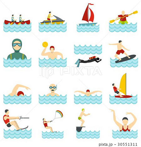 Water sport set flat icons 30551311