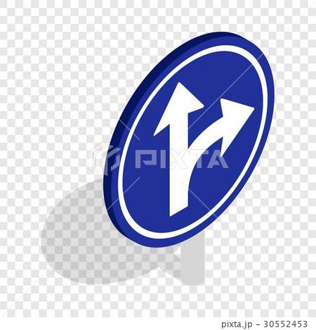 Turn right road sign isometric iconのイラスト素材 [30552453] - PIXTA