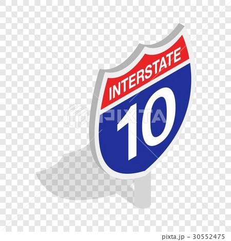 Interstate highway sign isometric iconのイラスト素材 [30552475] - PIXTA