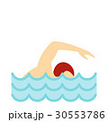 Swimmer crawling in pool icon, flat style 30553786