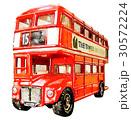 鮮豔細緻的手繪水彩畫插圖在白色背景:英國倫敦雙層巴士 30572224