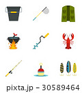 Fishing tackles icons set, flat style 30589464