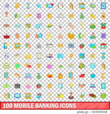 100 mobile banking icons set, cartoon style 30590008