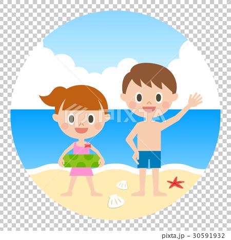 子ども 海水浴 30591932