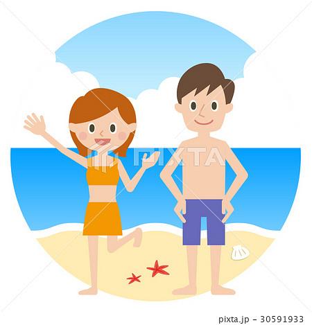 カップル 海水浴 30591933