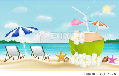 coconut drink water with beach chair on a sea sandのイラスト素材