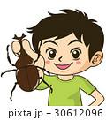 チラシやカタログでカットとして使えるカブトムシを持つ元気な男の子イラスト 30612096