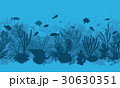 Blue Coral Reef and  Fishes Pattern 30630351