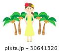 リゾート 女性 ヤシの木のイラスト 30641326