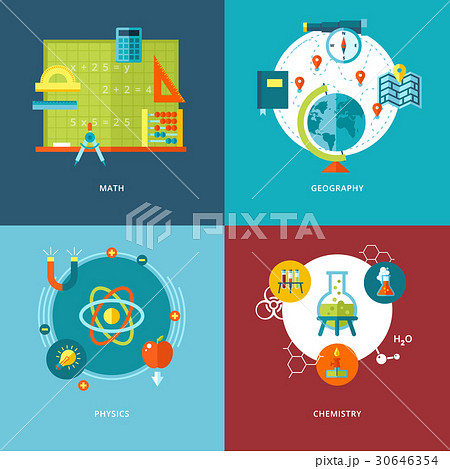 Set of flat design concepts school subjects icons.のイラスト素材 [30646354] - PIXTA
