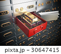 Open safe deposit box with  golden ingots.  30647415