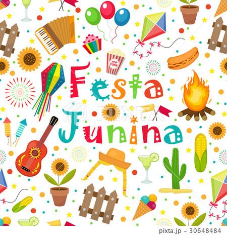 Festa Junina seamless pattern. Brazilian Latinのイラスト素材 [30648484] - PIXTA