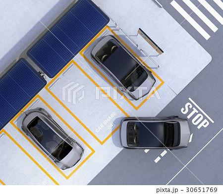 ソーラーパネル、急速充電器が備えるカーシェアリング専用駐車場のイメージ 30651769